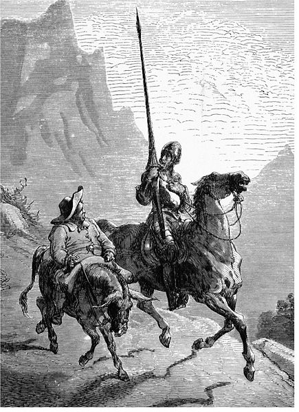 Don Quixote rides out of Manhattan yesterday with Sancho Panza wondering at his denuded umbrella.