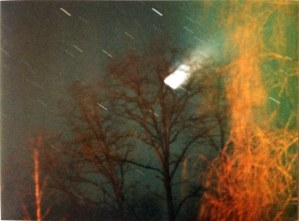 Hale-Bopp, 1997; a little over-exposed--one of the hazards of amateur photography with film.