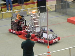 A Somerville robot (center)